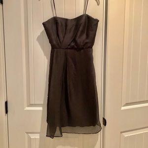 J Crew charcoal grey chiffon strapless dress